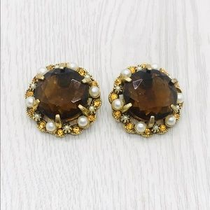 "Jewelry - Vintage Signed ""Art"" Rhinestone Glass Earrings"